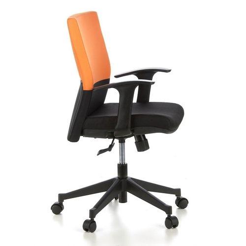 Bürostuhl ISTANBUL Schwarz-Orange aus Stoff - 3