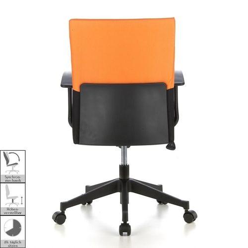 Bürostuhl ISTANBUL Schwarz-Orange aus Stoff - 4