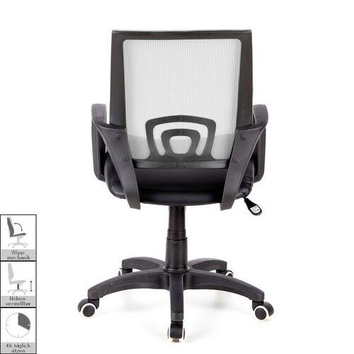 Bürostuhl BUDAPEST Schwarz-Grau aus Netzstoff & Kunstleder - 4