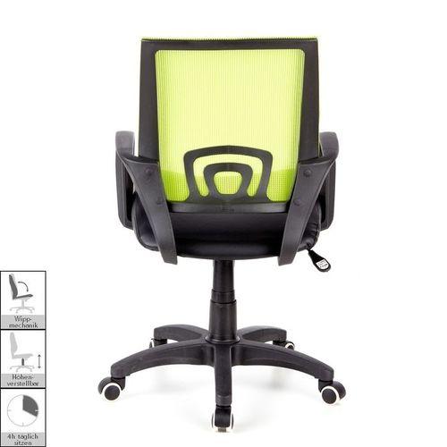Bürostuhl BUDAPEST Schwarz-Grün aus Netzstoff & Kunstleder - 4