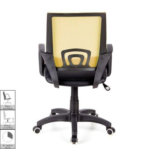 Bürostuhl BUDAPEST Schwarz-Orange aus Netzstoff & Kunstleder - 4