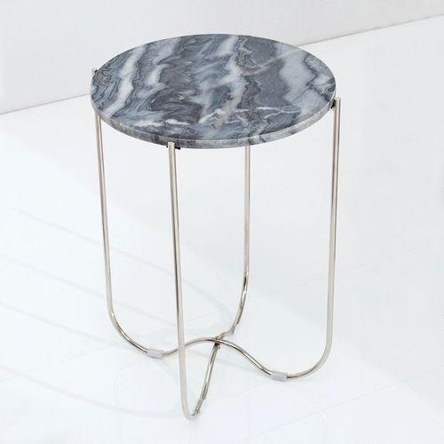 Beistelltisch FLORENTIN Grau Marmor mit Silber Gestell 38cm Ø - 2