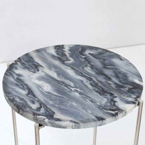 Beistelltisch FLORENTIN Grau Marmor mit Silber Gestell 38cm Ø - 3
