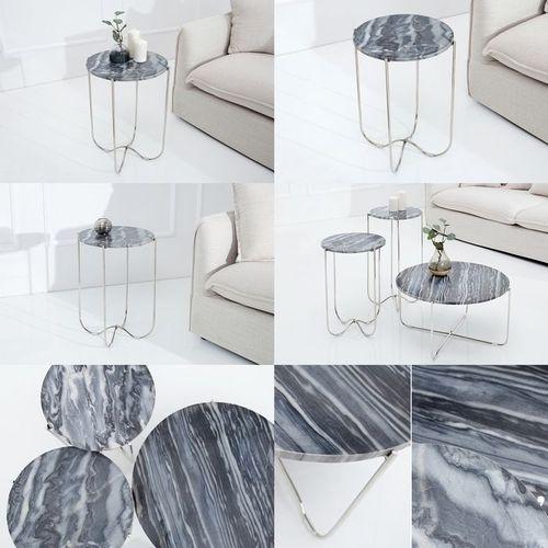 Beistelltisch FLORENTIN Grau Marmor mit Silber Gestell 38cm Ø - 4