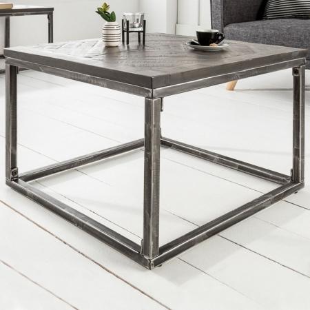 Industriedesign Couchtisch SITA Grau aus Mangoholz in Fischgratoptik handgefertigt 60cm - 2