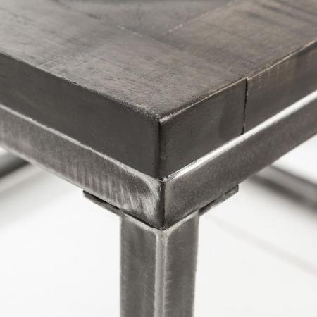 Industriedesign Couchtisch SITA Grau aus Mangoholz in Fischgratoptik handgefertigt 60cm - 4
