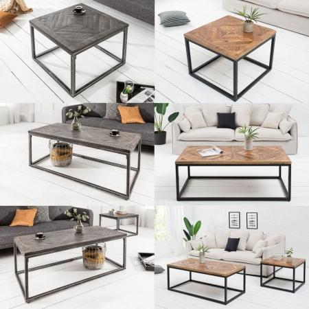Industriedesign Couchtisch SITA Grau aus Mangoholz in Fischgratoptik handgefertigt 60cm - 7