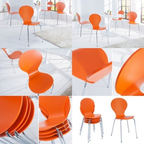 Designklassiker Stuhl JACOBSEN Orange stapelbar - 3
