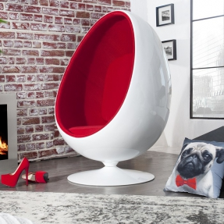 Sessel EGG BALL Weiß-Rot drehbar - 1