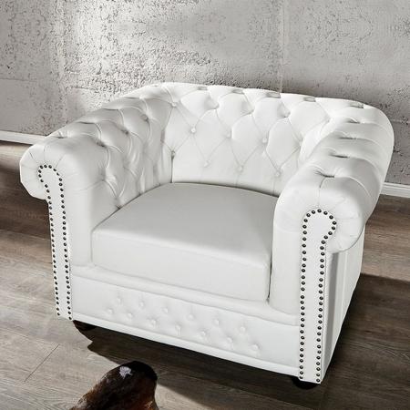 Sessel WINCHESTER Weiß im klassisch englischen Chesterfield-Stil - 1