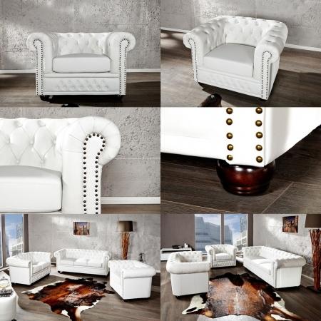 Sessel WINCHESTER Weiß im klassisch englischen Chesterfield-Stil - 2