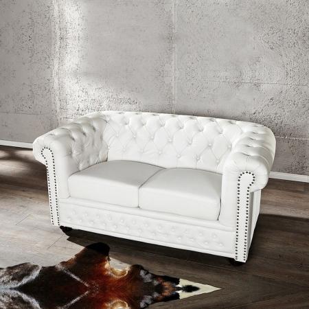 2er Sofa WINCHESTER Weiß im klassisch englischen Chesterfield-Stil - 1