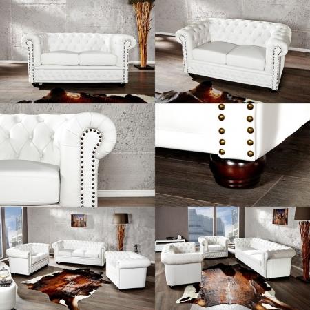2er Sofa WINCHESTER Weiß im klassisch englischen Chesterfield-Stil - 2