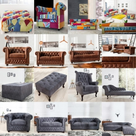 2er Sofa WINCHESTER Weiß im klassisch englischen Chesterfield-Stil - 3