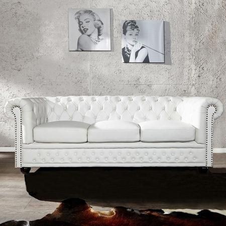 3er Sofa WINCHESTER Weiß im klassisch englischen Chesterfield-Stil - 1