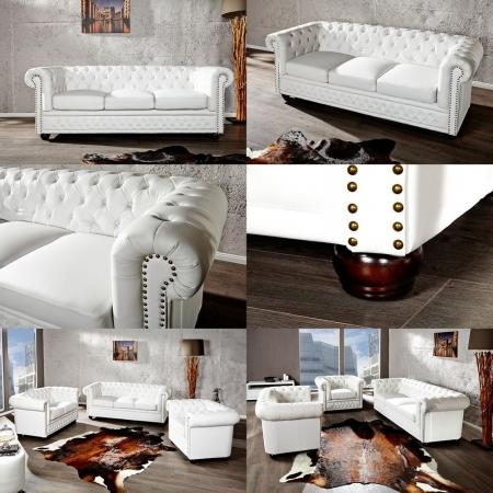 3er Sofa WINCHESTER Weiß im klassisch englischen Chesterfield-Stil - 2