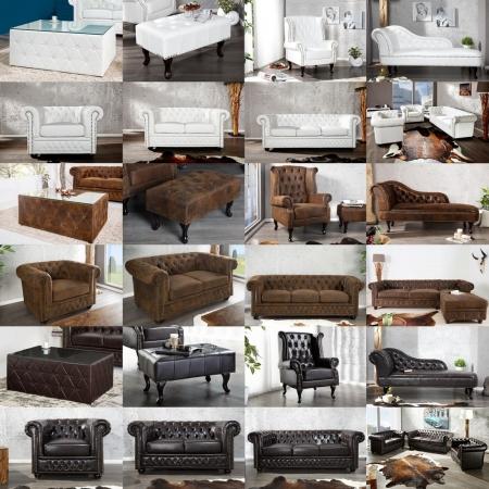 3er Sofa WINCHESTER Weiß im klassisch englischen Chesterfield-Stil - 4