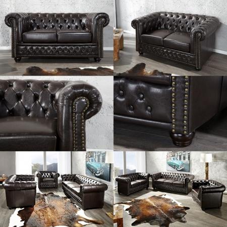 2er Sofa WINCHESTER Dunkelbraun im klassisch englischen Chesterfield-Stil - 2