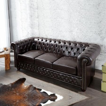 3er Sofa WINCHESTER Dunkelbraun im klassisch englischen Chesterfield-Stil - 1