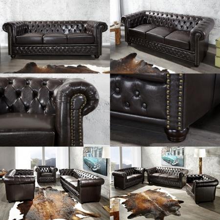 3er Sofa WINCHESTER Dunkelbraun im klassisch englischen Chesterfield-Stil - 2