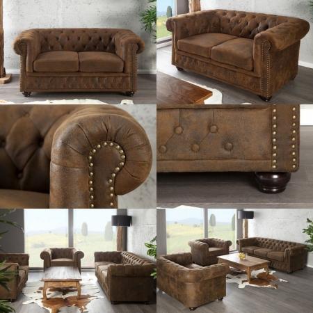2er Sofa WINCHESTER Braun im klassisch englischen Chesterfield-Stil - 2
