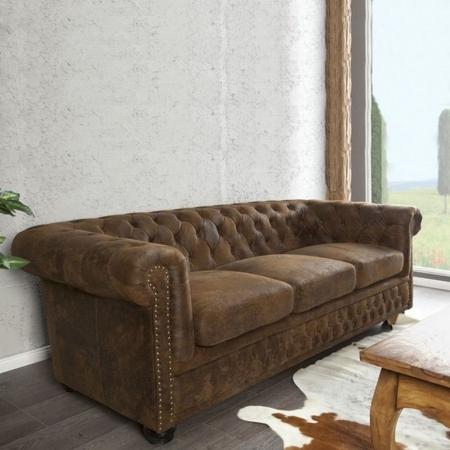 3er Sofa WINCHESTER Braun im klassisch englischen Chesterfield-Stil - 1