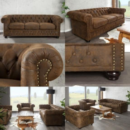3er Sofa WINCHESTER Braun im klassisch englischen Chesterfield-Stil - 2
