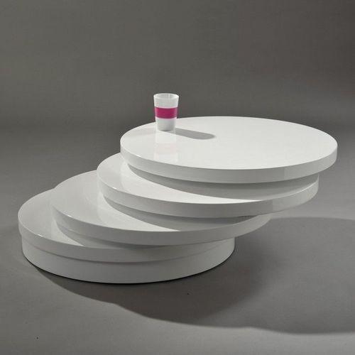 4 Ebenen Couchtisch CIRCULAIRE Weiß Hochglanz drehbar 70cm Ø - 3