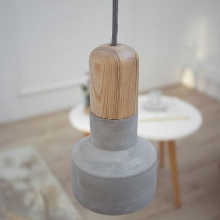 Hängelampe URBANO Buche & Grau aus Feinbeton 20cm Höhe - 1