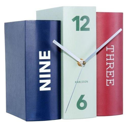 Standuhr BOOK Blau-Mint-Rot aus Papier 20cm - 1