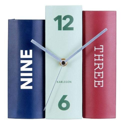 Standuhr BOOK Blau-Mint-Rot aus Papier 20cm - 2