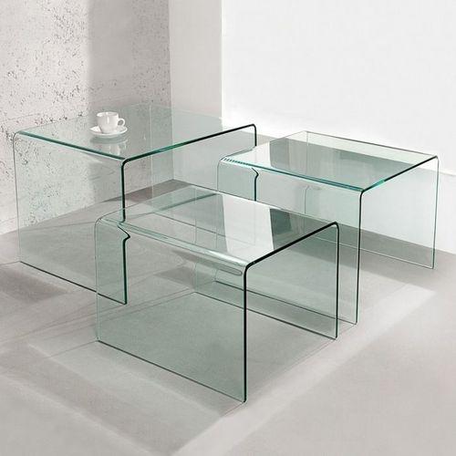 3er Set Beistelltische MAYFAIR Glas transparent 60/50/40cm - 1