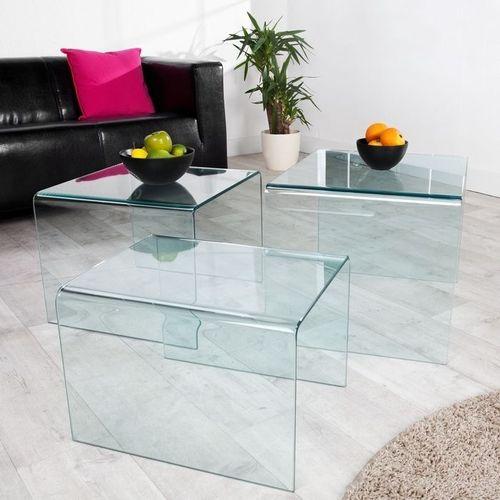 3er Set Beistelltische MAYFAIR Glas transparent 60/50/40cm - 3