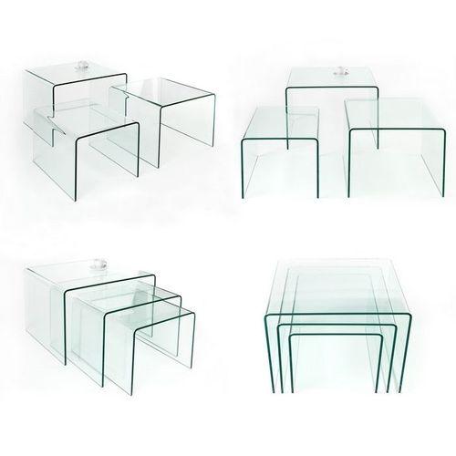 3er Set Glas-Beistelltische MAYFAIR transparent aus einem Guss 60/50/40cm - 5
