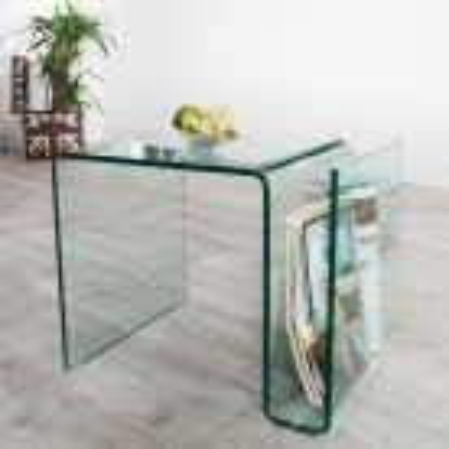 Glas-Beistelltisch MAYFAIR transparent aus einem Guss 50cm - 2