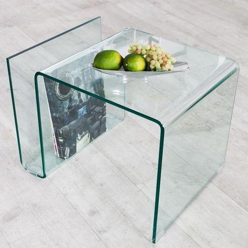 Glas-Beistelltisch MAYFAIR transparent aus einem Guss 50cm - 3
