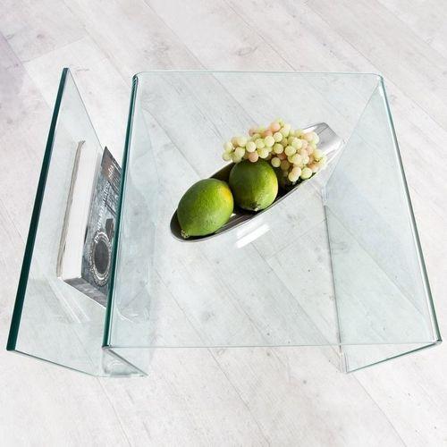 Glas-Beistelltisch MAYFAIR transparent aus einem Guss 50cm - 4