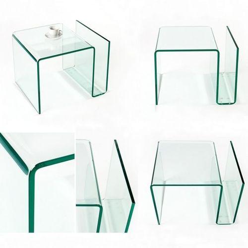 Glas-Beistelltisch MAYFAIR transparent aus einem Guss 50cm - 5