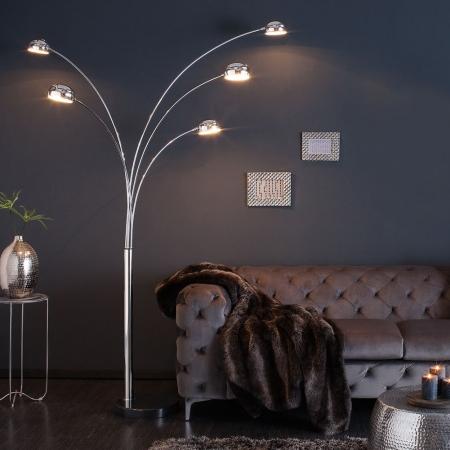 XL Stehlampe TULIPA Chrom glänzend mit Marmorfuß Schwarz 200cm Höhe - 1