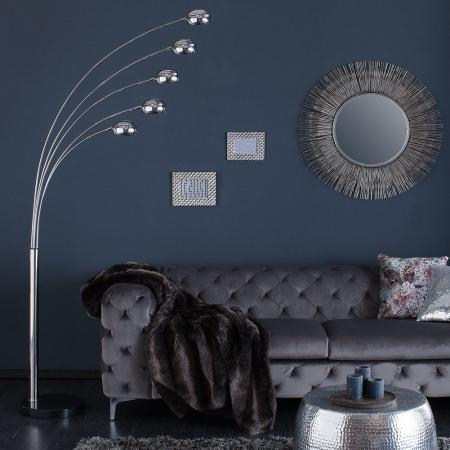XL Stehlampe TULIPA Chrom glänzend mit Marmorfuß Schwarz 200cm Höhe - 2