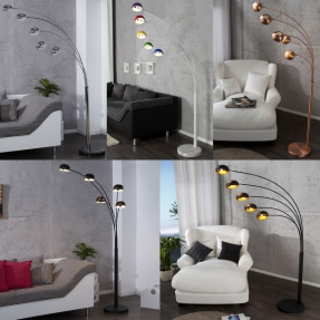 XL Stehlampe TULIPA Chrom glänzend mit Marmorfuß Schwarz 200cm Höhe - 4