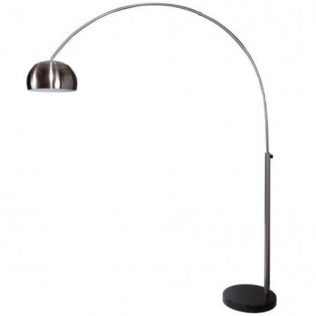 Bogenlampe LUXX Chrom gebürstet mit Marmorfuß Schwarz 170-210cm Höhe - 2