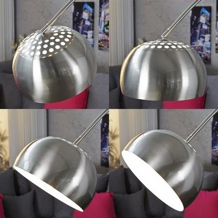 Bogenlampe LUXX Chrom gebürstet mit Marmorfuß Schwarz 170-210cm Höhe - 3