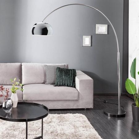 Bogenlampe LUXX Chrom glänzend mit Marmorfuß Schwarz 170-210cm Höhe - 1