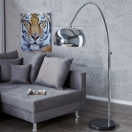 Bogenlampe LUXX Chrom glänzend mit Marmorfuß Schwarz 170-210cm Höhe - 2
