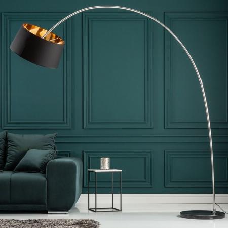 XXL Bogenlampe LUXOR Schwarz-Gold mit Marmorfuß Schwarz 215cm Höhe - 1