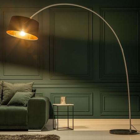 XXL Bogenlampe LUXOR Schwarz-Gold mit Marmorfuß Schwarz 215cm Höhe - 2