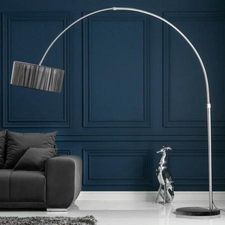 XXL Bogenlampe LUMA Schwarz mit Marmorfuß Schwarz 205-225cm Höhe - 1