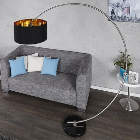 design bogenlampe arc schwarz gold inkl dimmer 180cm h he portofrei g nstig online bestellen. Black Bedroom Furniture Sets. Home Design Ideas