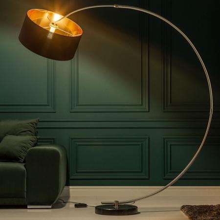 design bogenlampe arc schwarz gold 180cm h he inkl dimmer portofrei g nstig online bestellen. Black Bedroom Furniture Sets. Home Design Ideas